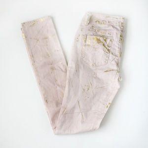 Vanilla Star pink gold splatter skinny jeans